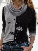 Floral Casual Draped Neckline Long Sleeve Blouses