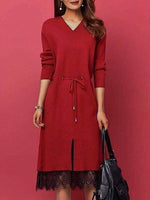 A-Line Long Sleeve V Neck Paneled Dresses