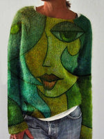 Green Abstract Cotton-Blend Casual Shift Sweater