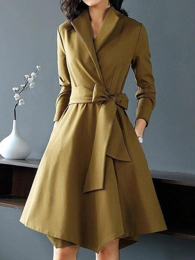 Long Sleeve Shawl Collar A-Line Dresses