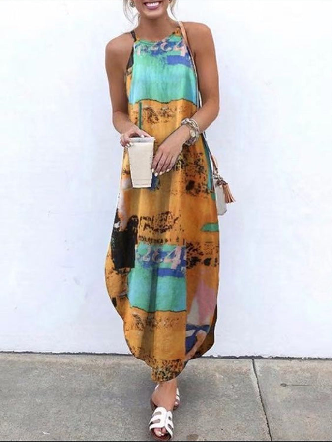 Sleeveless Casual Printed Halter Maxi Dresses