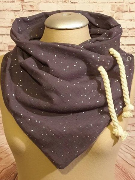 Deep Gray Printed Casual Scarves & Shawls