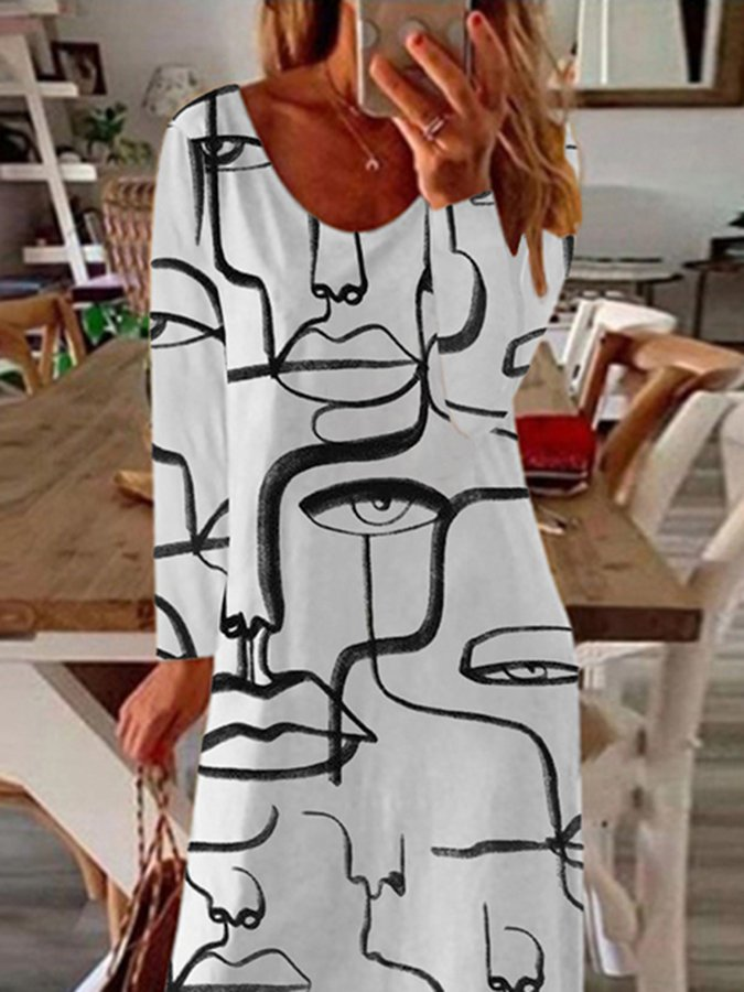Abstract Print Casual Long-Sleeved Dress
