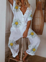 White V Neck Casual Short Sleeve Printed Jumpsuits