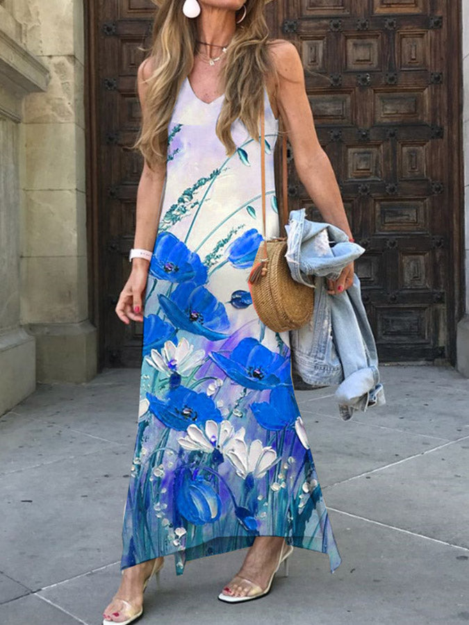 Sleeveless Printed Holiday V Neck Maxi Dresses
