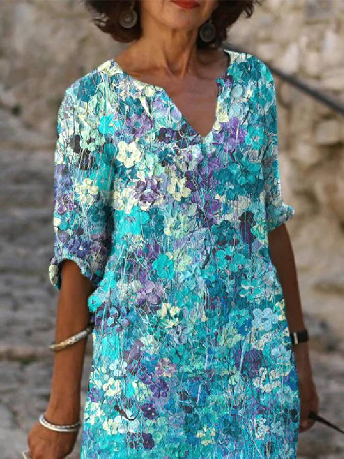 Blue Floral Cotton-Blend Casual Dresses