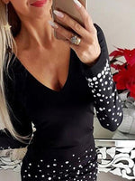 Black Sheath Polka Dots V Neck Casual Dresses