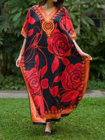 Black-Rose Floral-Print Work V Neck Batwing Dresses