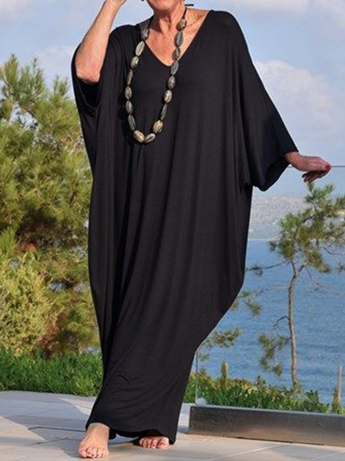 Black Paneled Solid 3/4 Sleeve Holiday Dresses