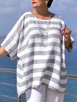 Gray Crew Neck Linen Short Sleeve Striped Shirts & Tops