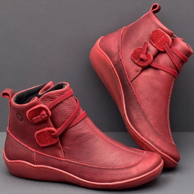 Women Casual Elastic Strap Leather Flat Heel Boots