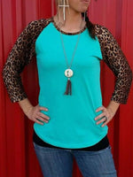 Long Sleeve Paneled Leopard Print top