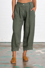 Plus Size Linen Women Loose Capri Pants With Pockets