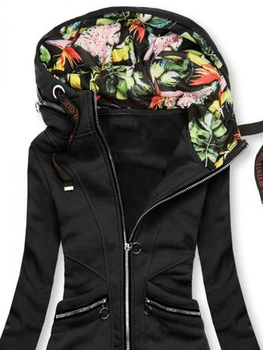 Black Hoodie Floral Printed Long Sleeve Outerwear