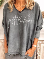 Casual V-neck loose print long sleeve top