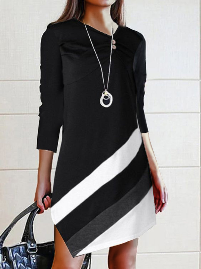 Color-Block Solid Asymmetrical Long Sleeve Dress