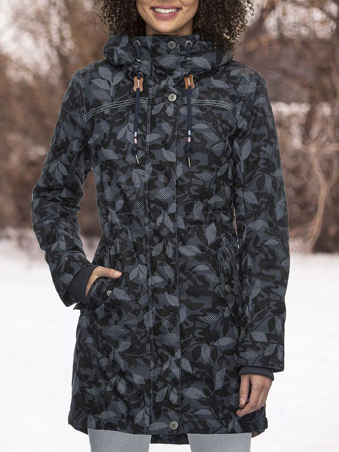 Black Hoodie Printed Shift Long Sleeve Outerwear