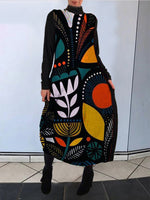 Cocoon Tribal Turtleneck Printed Dress