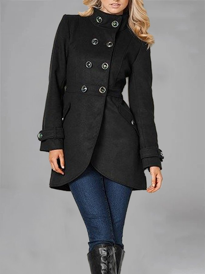 Women Holiday Solid Stand Collar Buttoned Coat