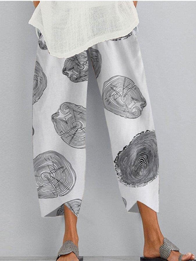 Asymmetric Casual Abstract Printed Pants