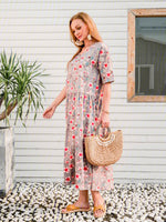 Vintage Plus Size Women Short Sleeve V Neck Floral Printed Casual Dresses