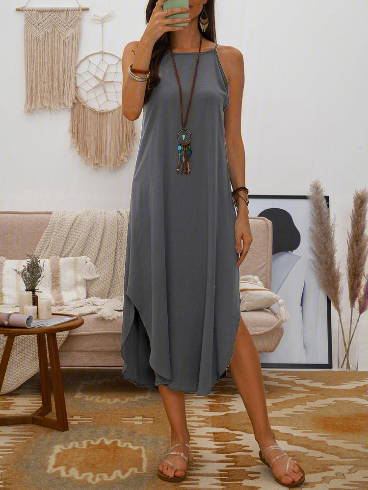 Solid Halter Holiday Maxi Dresses