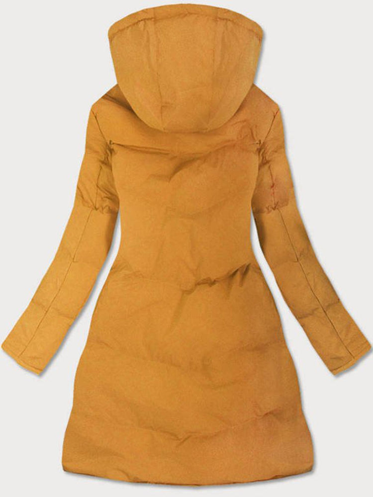 Yellow Hoodie Long Sleeve Cashmere A-Line Outerwear