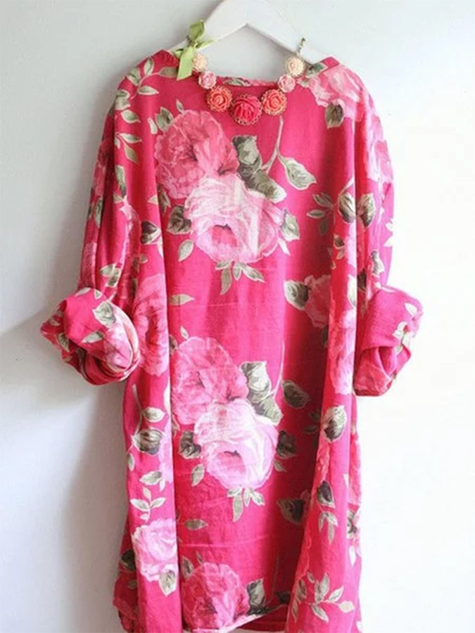 Flower Long Sleeve Scoop Neckline Dresses