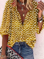 Vintage Half Sleeve Boho Floral Printed V Neck Plus Size Casual Tops