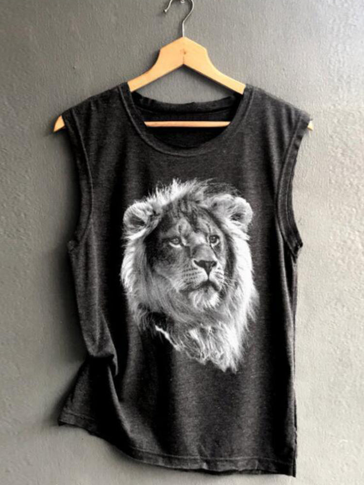 Vintage Sleeveless Statement Lion Printed Crew Neck Plus Size Casual Vest Tops