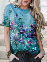 Blue Casual Floral Cotton-Blend Shift T-shirt