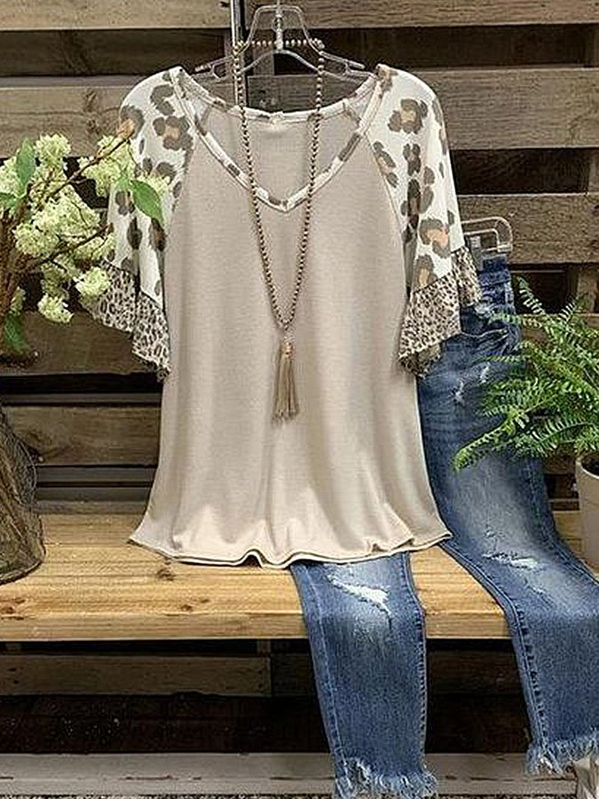 Casual loose leopard print short sleeve round neck top