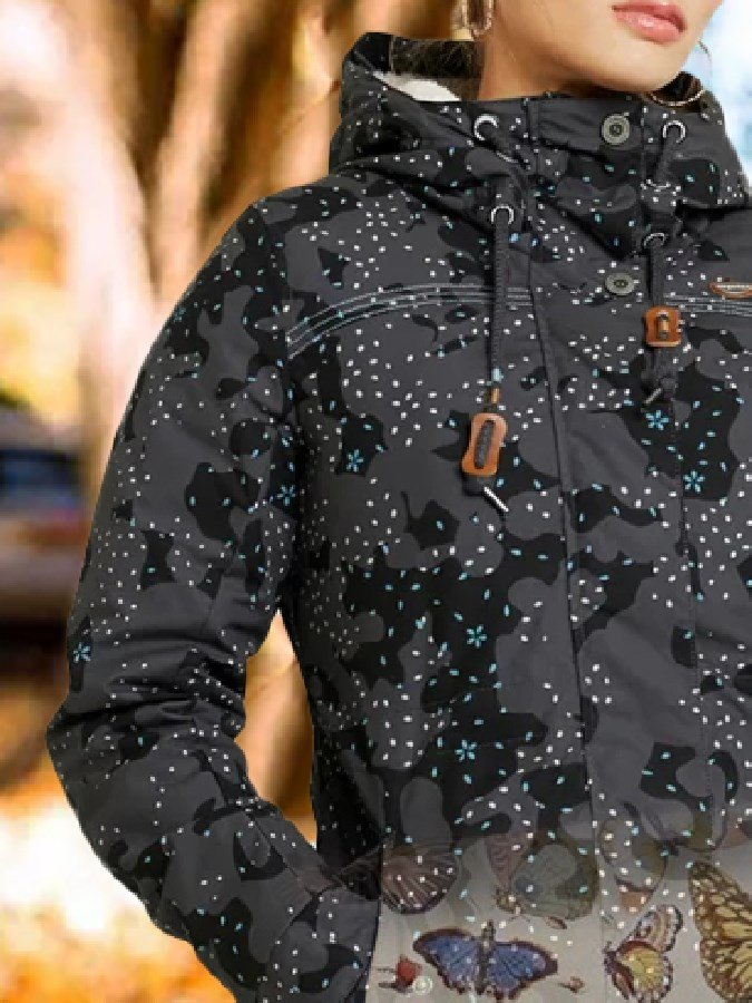 Black Polka Dots Shift Hoodie Long Sleeve Outerwear
