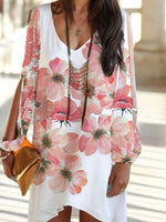 Casual V Neck Floral Long Sleeve Dresses