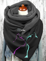 Black Animal Casual Cotton-Blend Printed Scarves & Shawls