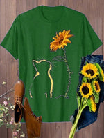 Vintage Cat And Sunflower Printed Plus Size Short Sleeve Casual Tops