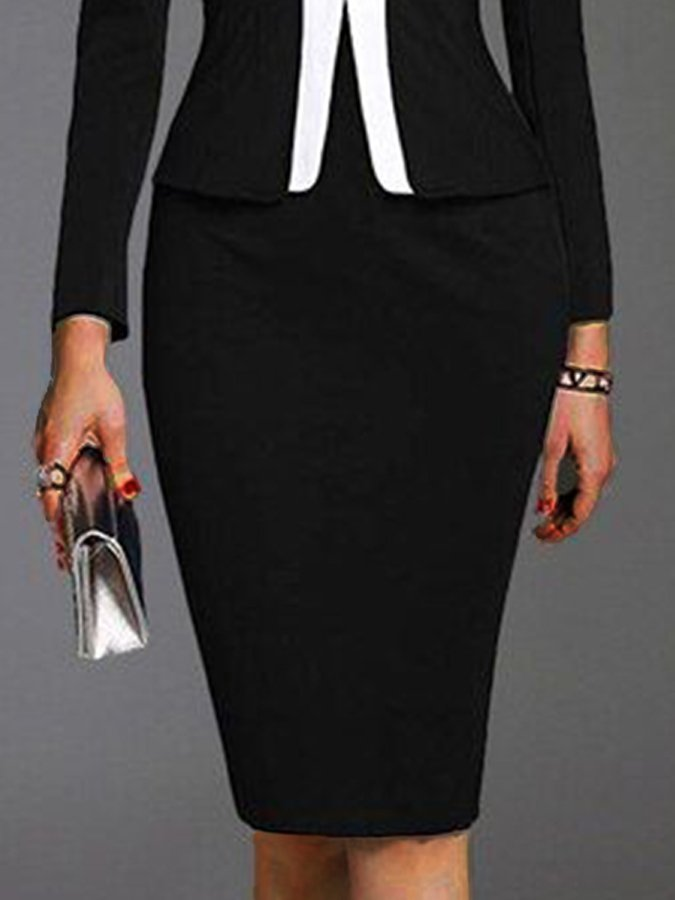 Black Sheath Plain Cotton-Blend Long Sleeve Dresses