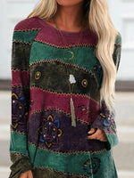 Floral-Print Stripes Long Sleeve Crew Neck Shirts & Tops