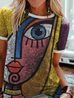 Multicolor Short Sleeve Abstract T-shirt