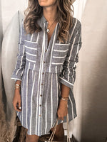 Gray V Neck Long Sleeve Striped Midi Dresses