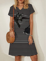 Short Sleeve Striped Casual Dresses