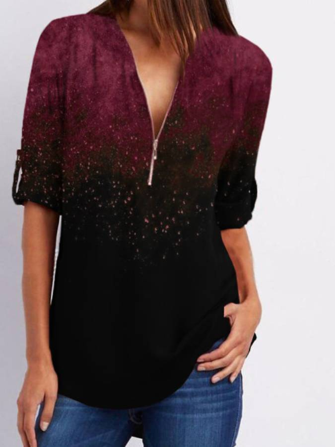 Casual V Neck Half Sleeve Patchwork Blouse