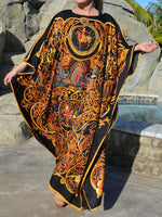 Black-Yellow Crew Neck Tribal Printed Batwing Dresses