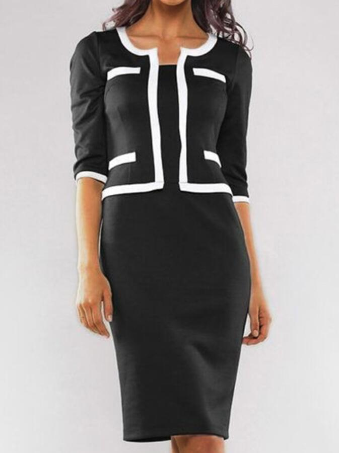 Black-White Sheath Crew Neck Half Sleeve Work Dresses