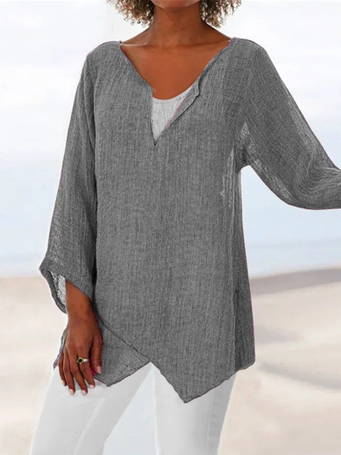 Plain Linen Casual Long Sleeve Tops