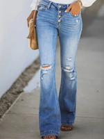As Picture Holiday Ripped Denim Pants