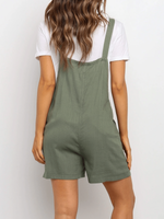 Pockets Solid Cotton-Blend Casual One-Pieces