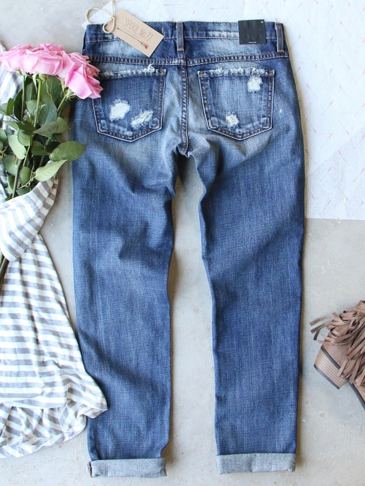 Blue Denim Printed Casual Pants
