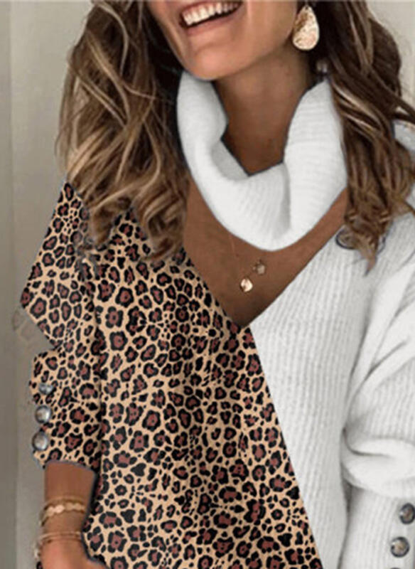 Casual Paneled Leopard Print Long Sleeve Sweater