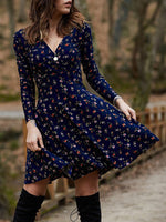 Floral Print Casual Long Sleeve Dress